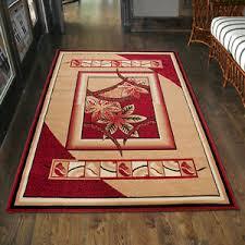 details zu teppich wohnzimmer modern floral rot beige läufer s 200x300 300x400 mehr