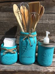 Mason Jar Kitchen Set 3 Painted Jars Turquoise