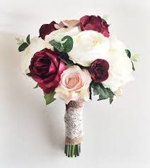 Silk wedding flowers Marsala Wedding Bouquet Bridal Bouquet
