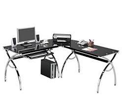 amazon com corner computer desk black glass l shaped w keyboard