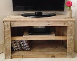 Handmade Rustic Corner Table Tv Stand With Shelf Reclaimed And Recycled Wood