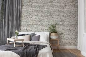 steintapete mit naturstein mauerwerk grau beige