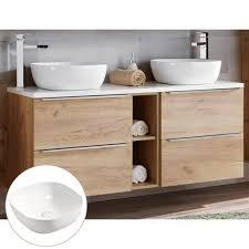 doppelwaschtisch unterschrank 140cm mit 2 keramikbecken toskana 56 in wotaneiche mit hochglanz weiß b h t ca 141 74 5 46 cm