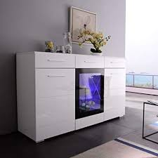 Mecor LED Sideboard Buffet Cabinet Server Table Storage With 3 Door 2 Drawers