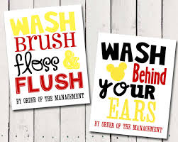 Mickey And Minnie Bathroom Sets by Mickey Mouse Bathroom Rules Subway Art Instant Download