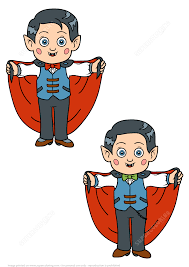 Halloween Brain Teasers Math by Find 5 Differences Boy In A Halloween Dracula Vampire Costume