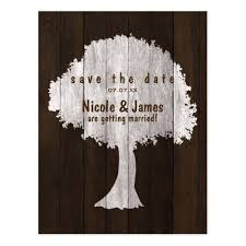White Oak Tree Wood Rustic Save The Date Postcard