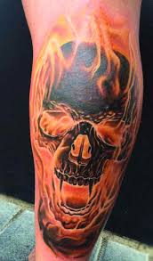 Skull And Flame Sleeve Tattoo