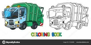 100 Funny Truck Pics Garbage Truck Car With Eyes Coloring Book Stock Vector