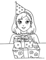 Girl With A Birthday Gift Coloring Page