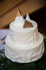 Simple And Original Mountain Destination Wedding Cake