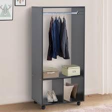 homcom mobiler kleiderschrank garderobe schrank mit regal 4