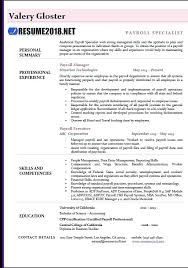 Resume Examples For Payroll Manager Also Sample To Frame Cool 324