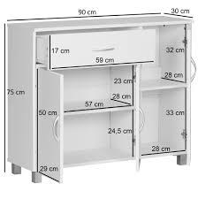 wohnling design sideboard jarry 90 x 75 x 30 cm weiß schränkchen mit 1 schublade 3 türen moderne schlafzimmer kommode anrichte esszimmer