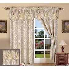 Elegant Comfort Penelopie Jacquard Look Curtain Panel Set 54 By 84 Inch Beige Of 2