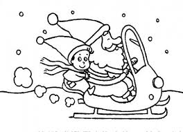 Santa Claus Is On A Sleigh With Kid Christmas Coloring Pages