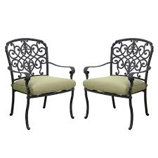 Hampton Bay Patio Chair Replacement Cushions by Hampton Bay Edington Cast Back Pair Of Patio Dining Chairs With