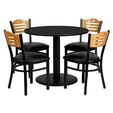 36'' Round Black Laminate Table Set With 4 Wood Slat Back Metal Chairs -  Black Vinyl Seat Vintage Mid Century Chrome And Vinyl Play Table Chair Set 5 Piece Card Products Table Set Mcintosh Ding 6 Chairs Black Multipurpose 42 Round Xt Base With 4 Manor Antimicrobial Stack Cherry Finish And Teal Drop Leaf Four Teak Danish Design Flash Fniture 36 Square Walnut Laminate Ladder Back Metal Seat Trademark Gameroom Coca Cola Upholstery Pub Bar Stools Backs Cool Retro Dinettes 1950s Style Cadian Made Sets Details About 5piece Folding Indoor Room Game Friends Upholstered Cosco Natural Grid