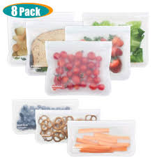 Leakproof Reusable Storage Bags 8 Pack Ziplock Lunch Bag 5 Reusable Sandwich Bags 3 Kid Snack Bags EXTRA THICK BPA FREE Freezer Bags for