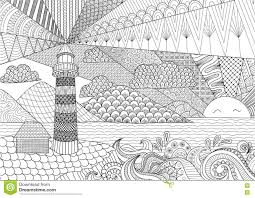 Royalty Free Vector Download Seascape Line Art Design For Coloring Book Adult Anti Stress