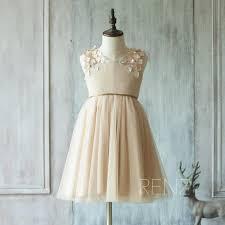 2015 champagne flower dress junior bridesmaid dress rosette