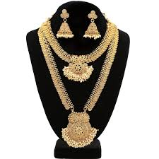 100 Pearl Design Gold Plated Double Set Kasumala S With Cluster Pendant Temple Jewelry
