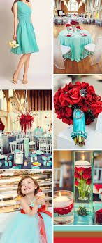 Tiffany Blue And Red Country Wedding Ideas Bridesmaid Dresses