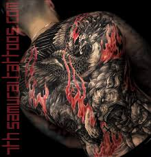 Mens Asian Fudogs Phoenix Red Flame Highlights Back Piece Tattoo 5