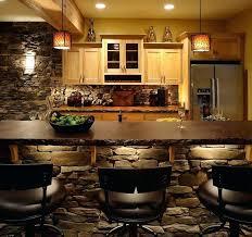 Basement Wet Bar Lighting Designs With Stone Wall Ideas Design Modern Interior