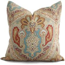 Decorative Lumbar Throw Pillows by Red Tan Blue Paisley Decorative Pillow Cover Square Or