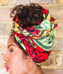 african green red print head wrap turban wax print head wrap