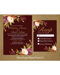 Elegant Rustic Fall Wedding InvitationBurgundyPlumBurnt OrangeIvoryFall