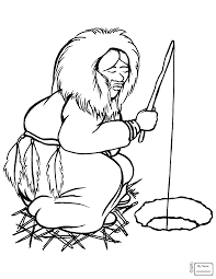 Coloring Pages Eskimo Fishing Inuit Countries Cultures