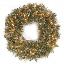 Pre Lit Pencil Christmas Trees Uk by 2ft Pre Lit Glittery Bristle Pine Artificial Christmas Wreath