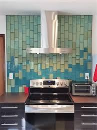 handmade subway tile backsplash blue green ombre mercury