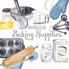 Watercolor Baking Supplies culinary clipart baking clip art baking illustration foo clipart baker clipart Digital scrapbooking
