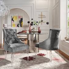 100 2 Chairs For Bedroom Html Shop Gina Velvet Tufted Dining Chair Set Of With Acrylic Legs By