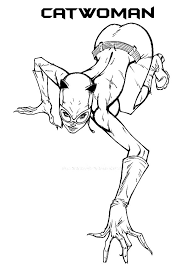 Catwoman Crawiling Slowly Coloring Pages