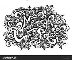 Merry Christmas Coloring Page Zentangle