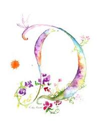 Letter D Watercolor Monogram Flower by MilkandHoneybread on Etsy