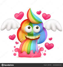 Cartoon Unicorn Rainbow Vomiting Poo Emoji Character Vector Illustration By Nektoetkin