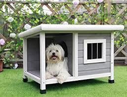petsfit hölzerne hundehütte für draußen mit fenster ein zimmer und ein wohnzimmer für haustiere zum schlafen und ausruhen ziegel asphalt dach