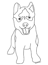 Cute Dog Free Printable Download Coloring Pages Husky