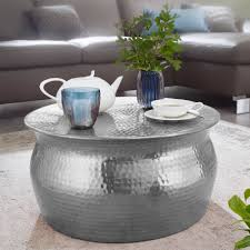 couchtisch karam 60x30 5x60cm aluminium silber beistelltisch orientalisch rund flacher hammerschlag sofatisch metall design wohnzimmertisch modern