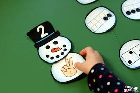 Snowman Number Match Printable A Dab of Glue Will Do