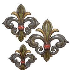 Fleur De Lis Cabinet Knobs by 3 Piece Metal Fleur De Lis Wall Decor Set For The Home