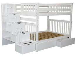 Bunk Beds Full over Full Stairway White 2 Drawers
