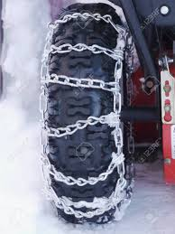 Snow Chains Outside At A Wheel In Winter Stock Photo, Picture And ...