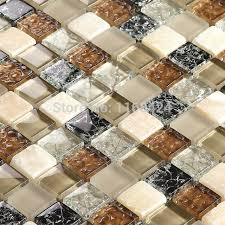 brown mixed white and black color glass mosaic tiles for kitchen