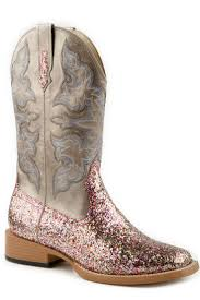 Roper Ladies Bling Sqtoe Faux Leather Sole Boots Sq Toe Glitter Boot Multi Color